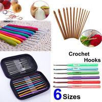 Aluminum/Bamboo/Plastic Handle Crochet Hooks Knitting Knit Needle Weave Yarn Set