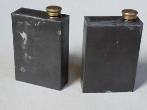 Pair of vintage tinplate cans with brass caps for artists thinners / Linseed etc