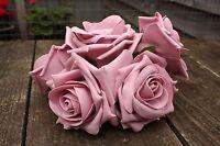 5 x DUSKY VINTAGE MAUVE ROSE PINK COLOURFAST FOAM OPEN LARGE ROSES 9cm