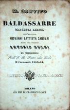 1854 – CANOVAI, IL CONVITO DI BALDASSARRE. TRAGEDIA LIRICA – OPERA TEATRO MILANO
