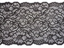 7.90 EUR//Meter Elastische  Spitze extra breit 16cm schwarz