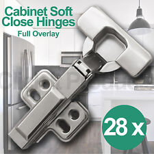 28 x Soft Close Cabinet Door Hinges Full Overlay Clip on Cupboard Hydraulic