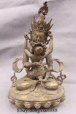 """11"""" Old Tibet Buddhism Bronze Mandkesvara Vajrasattva Yab-Yum Buddha Statue"""