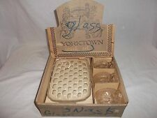 Vintage Federal Glass Company Yorktown Snack Set in original box - 4 Cups/Plates
