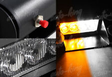 AMBER & WHITE EMERGENCY CAR TRUCK 4 LED SUV DASHBOARD WARNING FLASH STROBE LIGHT