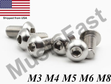 M3 M4 M5 M6 M8 Stainless Steel Button Head Socket Screw A2 Hex-Key Metric
