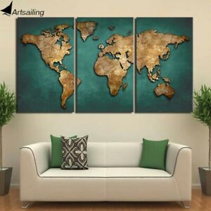 Canvas Print LIMITED EDITION World Map Wall Art Canvas Painting-3pcs-With Frame