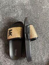 New Girls Michael Kors Black & Gold summer sliders,shoes,sandals.Size UK 3.5