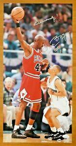 Tyrone Muggsy Bogues Signed 10x20 Photo with Michael Jordan JSA Sticker No Card
