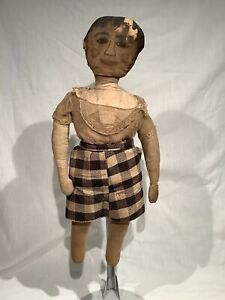 ANTIQUE FOLK ART CLOTH DOLL, 21 INCHES TALL, GREAT CHARACTER!