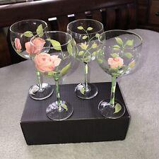Vintage Hand Painted Roses Block Basics Wine Goblets Glasses Set of Four
