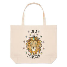 I'm A Lioncorn Large Beach Tote Bag - Funny Lion Unicorn Animal Shopper Shoulder
