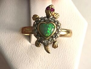 SOLID 14K YELLOW GOLD TURTLE RING W/OPAL BACK, RUBY EYES SZ 7