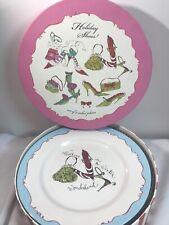 "Rosanna Christmas Holiday Shoes Handbags Set of 4 8"" Salad Dessert Plates in Box"