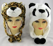 TWO Fluffy Animal Beanies LEOPARD & PANDA Costume Hats Caps One Size Fits Most