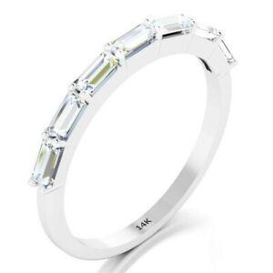 14K Solid White Gold Baguette Diamond Wedding Thin Band Stacking Modern Ring