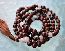 8mm Root Chakra 108 Mahogany Obsidian Rose Quartz Handmade Mantra Mala, Om Mala