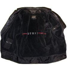 Vintage GUESS Leather Jacket Mens Coat Fleece Lining