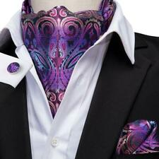 USA Purple Paisley Mens Silk Ascot Cravat Tie Set Scarves Hanky Cufflinks