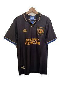 Manchester United Black Retro 1994 away Football shirt large Classic new