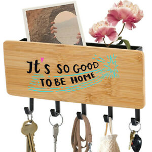 It's So Good To Be Home Design Wooden Key Holder Mount 5 Hooks Mail Organizer
