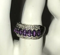 African Amethyst Seven-stone Sterling Silver Ring Size 7