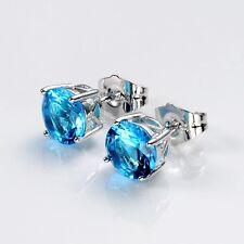 Wonderful 18k White Gold Filled Charm Earrings 8mm Blue Earstud Fashion Jewelry