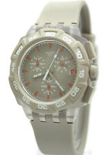 New Swatch Beige Hero Chronograph Date Silicone Rubber Watch 45mm SUIT400 $120