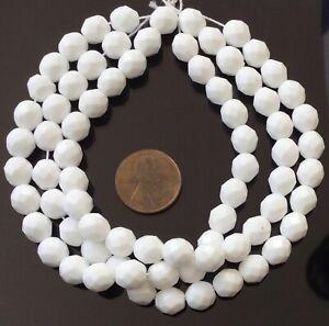 Amazing 8mm Trade Czech Opaque chalk White fire Polished Glass beads-25 Beads