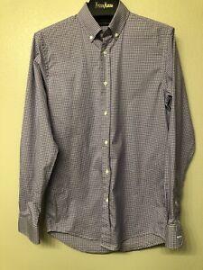 Ralph Lauren Black Label Purple & White Plaid Shirt Size S/15.5 Cotton