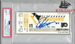 Eric Lindros signed NHL Debut Ticket PSA DNA Slabbed Auto Rare Flyers HOF C736