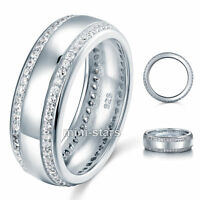 925 Sterling Silver Round Cut Created Diamond Men's Wedding Band Ring UFR8052