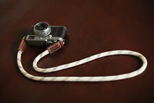 Camera neck shoulder strap handmade white climbing rope brown leather | Windmup