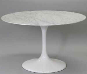 """Eero Saarinen style Tulip Euro knoll mid century modern White marble table 40"""""""
