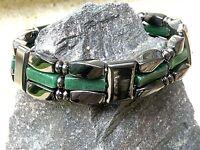 Men's Women's Magnetic Hematite Bracelet Anklet Necklace w Green Jade 3 row
