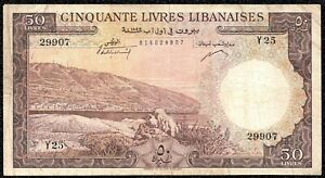 Lebanon 50 Livres 1952 P-59a VF Banknote