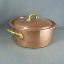 French DEHILLERIN Vintage Copper Cooking Stock Pot Tin Lined Brass Handles, Lid
