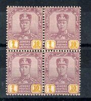 Malaysia - Johore 1922-41 10c thin striated paper MNH block of 4