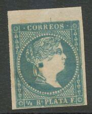 SPANISCH-WESTINDIEN 1857 Königin Isabella II ABART großer blauer Ohrring + Rahme