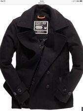 Superdry Men's Commodity Slim Pea Coat Charcoal 2XL Brand New