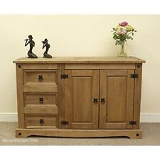 Pine Wood Furniture Low 2 Door 3 Drawer Sideboard Solid Wax Corner Stand Wide La