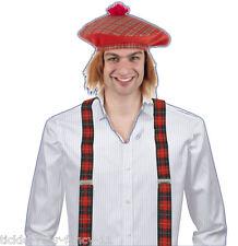 Unisex scozzese tartan KIT CAPPELLO PARRUCCA Bretelle FANCY DRESS ACCESSORIO COSTUME SCOZIA