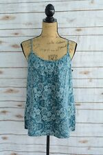 NWT Merona - Teal floral RAYON tank blouse PLEATED neckline ADJUSTABLE straps, S