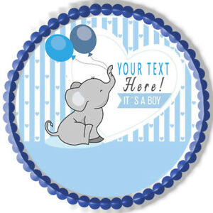 It's a Boy Elephant Baby Shower - Edible Cake Topper or Cupcake Topper