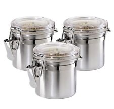 Oggi 3-Piece Mini Stainless Steel Canister Set with Clear Acrylic Lid and Clamp