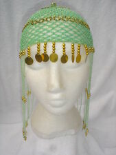 Ladies Egyptian Cleopatra Queen Of The Nile Green Headpiece Fancy Dress Wig