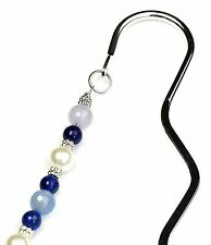 Bookmarks Silver Color Hook Pewter Semiprecious Stones Handmade USA (SEBM-40011)