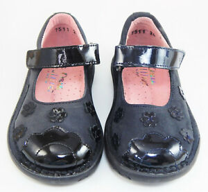 DE  OSU - Girls Black Navy Leather School Dress Shoes - European 24 Size 7