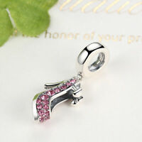 Solid 925 Sterling Silver High-Heeled Shoes Dangle Charm with Rose Crystal Stone