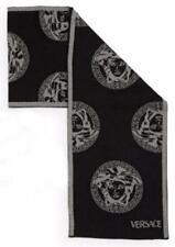 New Authentic VERSACE 100% Wool Medusa Head Logo Black Men's Scarf - Italy